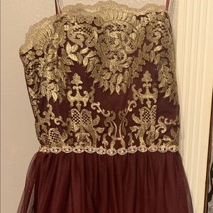 Strapless Maroon and Gold Dress